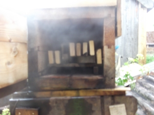 Chair parts are steamed for one hour in the wooden Steambox.