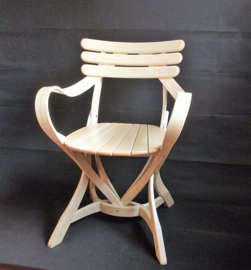 Armchair made from steam bent Ash.